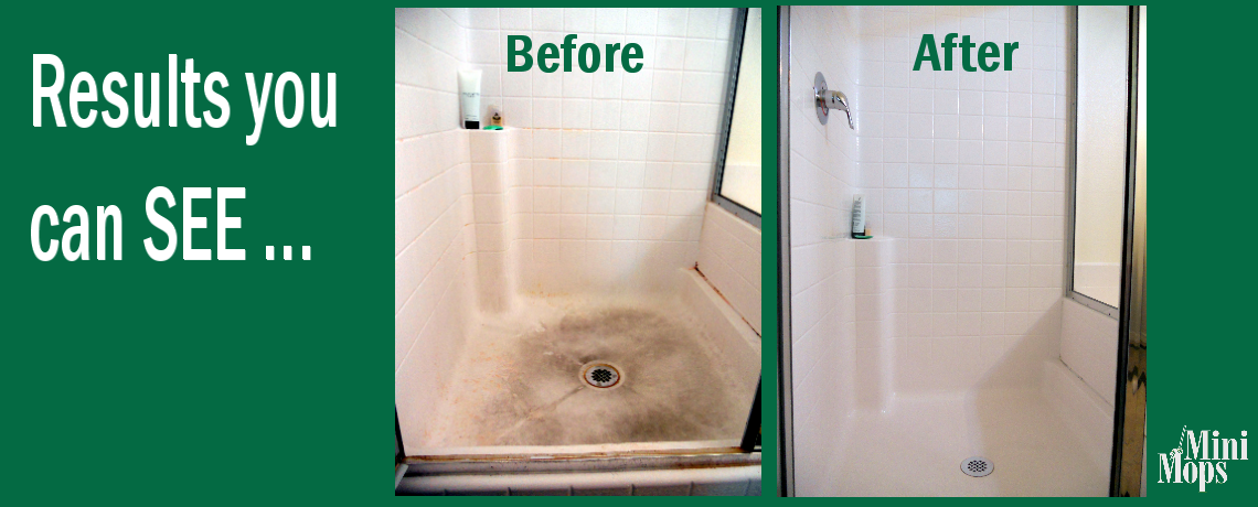 Mini Mops House Cleaning Before and After Photos of a Dirty Shower